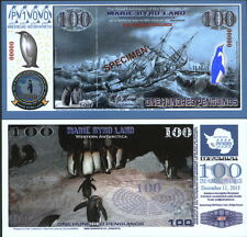 NEW POLYMER 11.12.13 MARIE BYRD LAND 100 PENGUINO SPECIMEN FANTASY ART BANKNOTE!