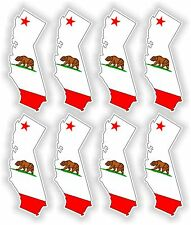 California Map Flag 8x Stickers SILHOUETTE USA Flags Car Bike Helmet Motorcycle
