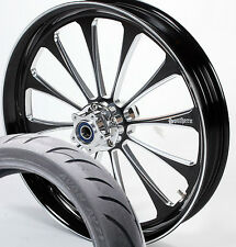 "23 "" Black Contrast Legend Custom Harley Wheel w/ Avon Tire '09 & Up"