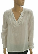 127958 New Denim & Supply Ralph Lauren Ruffle Gauze White Sheer Blouse Top S