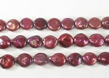 Cranberry Red Coin Pearl Size 10 to 12 mm Genuine Freshwater Pearl (#60)