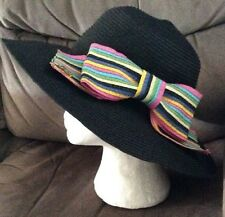 Gorgeous Black Hat by Betsey Johnson + Multi Coloured Bow To Side BNWT wedding