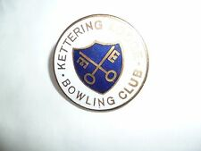 green bowling club pin badge - old collectable - kettering