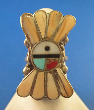 VINTAGE OLD PAWN INLAID DESIGN RING SOUTHWEST STYLE SIZE 5 NATIVE AMERICAN ZUNI