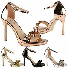 Amerie Womens High Heels Stilettos Open Toe Ladies Sequin Sandals Shoes Size New