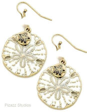Ivory Sand Dollar Sea Life Charm Drop Dangle Hook Earrings Gold Pearl    1-4
