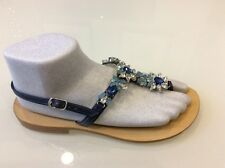 Don Alfonso Jeweled Swarosvki Blue stones leather Sandals size 38/7.5 US