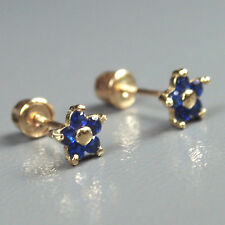 14K solid yellow gold star natural dark blue Sapphire screw back earrings