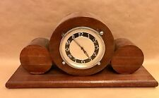 Vintage Wooden Mantle Clock - Deco Style Circular Wood - Wind Up Movement