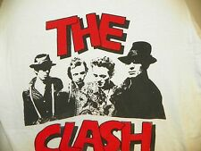 VINTAGE 1980'S THE CLASH WHITE SHORT SLEEVE  CONCERT TEE