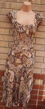 G21 YELLOW CREAM PAISLEY FLORAL PURPLE CHIFFON A LINE SKATER GYPSY  DRESS 16 XL