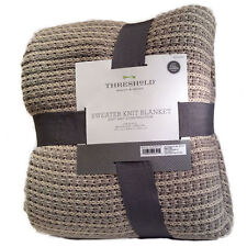NEW Threshold Sweater Knit Blanket - Gray/Tan - Size: Full/Queen
