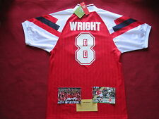*SALE* ARSENAL GUNNERS IAN WRIGHT HAND SIGNED JVC HOME SHIRT -MEDIUM- BNWT- COA