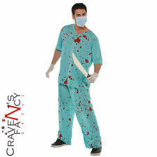 Adult Unisex Bloodied Surgeon Scrubs Costume Ladies Mens Halloween Fancy Dress