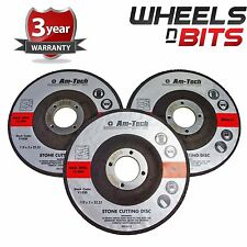 3pc 115 x 3 x 22.23mm Stone Cutting Angle Grinder Discs Garage Depressed Centre