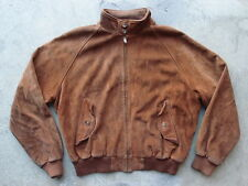 Vintage Polo Ralph Lauren Suede Jacket Size XL Brown Leather Coat Plaid Lined