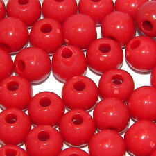 Lot of 100 Plastic Acrylic 6mm Round Solid Opaque Colored Beads with 1.8mm Hole