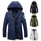 Men Fashion Slim Fit Casual Hooded Trench Coat Long Jacket Windbreaker Outerwear
