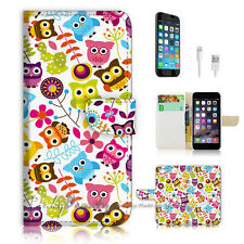 iPhone 6 6S Plus (5.5') Flip Wallet Case Cover! P1880 Owl