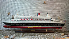 "QUEEN MARY II Cruise Ship 40"" - Handmade Wooden Ship Model"