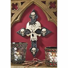 Gothic Religious Cross Skull Head Statue Medieval Halloween Goth Decor Wall Art