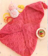 Baby Sleeping bag/bunting Wrap manta ~ Cable patrón ~ Capucha ~ ~ Tejer patrón