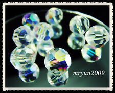 FREE NWT 50CS Lot #5000 Clear AB crystal Round Charms Spacer Beads findings 8mm