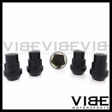 M12X1.5 12X1.5 EXT ACORN BLACK WHEEL LUG NUT LOCKS SET OF 4 WITH KEY