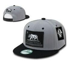 Gray & Black California Republic Flag Bear Flat Bill Snapback Snap Back Cap Hat