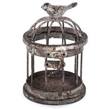 Stunning Small Iron Bird Cage with Bird on Top. Vintage Look  Accent Home Decor