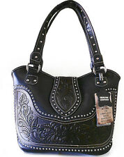 Montana West® Concealed Carry, Western Bag w/ tooled Leather Accents- Black