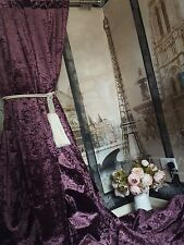 """Made To Order Huge Aubergine Crushed Velvet113""""D52""""W Lined Curtains Tab Top Head"""