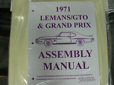 1971 GTO, LEMANS, TEMPEST, GRAND PRIX (ALL MODELS) ASSEMBLY MANUAL