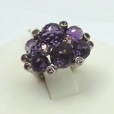 Sterling Silver Amethyst Faceted Cha-Cha Bead Pink Tourmaline Ring Sz5