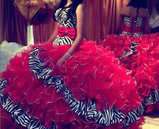New Zebra/Red Ball Gown Quinceanera Dresses Long Prom Party Pageant Gowns Stock
