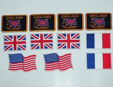 "CAR RACING FLAG USA FRANCE ENGLAND UK Assorted Sew On Iron On PATCH SET 3"" New"