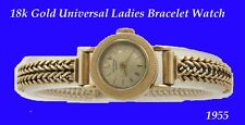 Mint 18k Gold Ladies Universal Deco Wrist Watch 1954