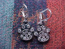 Sterling Silver Plated Rhinestone Dog Paw Earrings Lever backs New