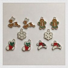 12 Christmas Holiday Hat Stocking Reindeer Charms ~Jewelry Bracelets Earrings C6