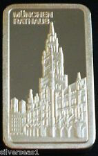 MUNCHEN RATHAUS ~DEGUSSA MINT ~FEINSILBER 999 1 UNZE SILVER BAR ~MADE IN GERMANY