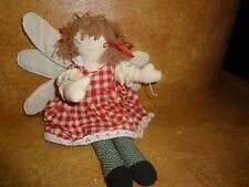Plush Angel Ornament Country Pattern Red Gingham Muslin Doll