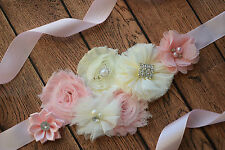 Maternity Sash, Blush pink ivory Sash, flower Belt, maternity sash, wedding sash