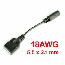 18AWG HQ 5.5mmx2.1mm DC Power Jack Plug to USB A Female Cable Converter Adapter
