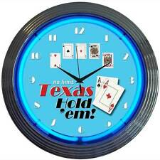 New No Limit Texas Hold Em poker cards game room blue neon clock  Fast Free Ship