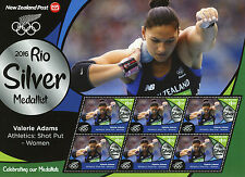 New Zealand 2016 MNH Rio Silver Valerie Adams Shot Put 6v M/S Olympics Stamps