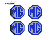 MGF LE500 MG TF ZS ZR ZT Alloy Wheel Cap Centre Logo Badges Blue & Silver (45mm)