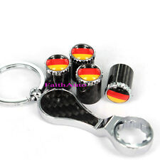 Germany Anti-Theft Carbon Fiber Wrench Keychain Tire Valve Stem Caps For VW