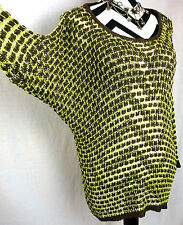 Umgee Top Size Large Free Boho People Batwing Green Sweater Womens Shirt L New