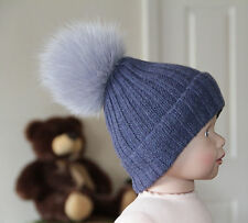 BABY BOYS BLUE CASHMERE MERINO RIBBED BEANIE HAT FUR POMPON 6-12 HANDMADE LUXURY