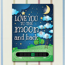 A6 Nursery and Childrens Moon and Back Baby  Room Thermometers
